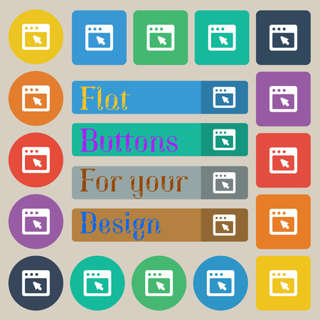 dialog box: the dialog box icon sign. Set of twenty colored flat, round, square and rectangular buttons. illustration