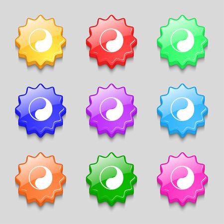 karma graphics: Yin Yang icon sign. symbol on nine wavy colourful buttons. illustration Stock Photo
