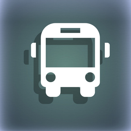 schoolbus: Bus icon symbol on the blue-green abstract background with shadow and space for your text. illustration