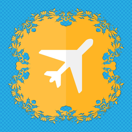 airplane. Floral flat design on a blue abstract background with place for your text. illustration