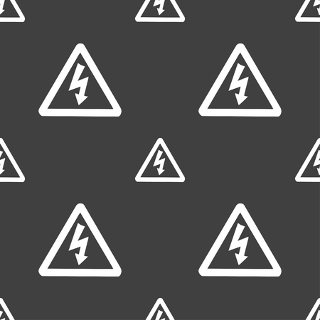 voltage gray: voltage icon sign. Seamless pattern on a gray background. illustration Stock Photo