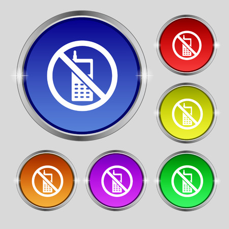 cell phones not allowed: mobile phone is prohibited icon sign. Round symbol on bright colourful buttons. illustration Stock Photo