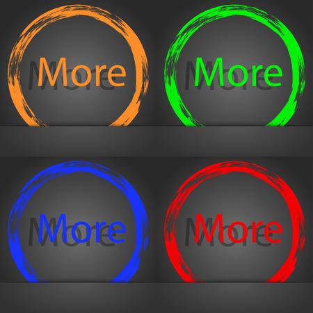 More sign icon. Details symbol. Website navigation. Fashionable modern style. In the orange, green, blue, red design. illustration Stock Photo