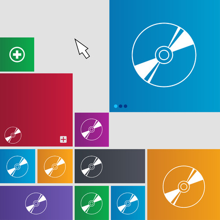 Cd, DVD, compact disk, blue ray icon sign. buttons. Modern interface website buttons with cursor pointer. illustration