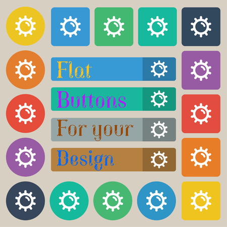 solarium: Sun icon sign. Set of twenty colored flat, round, square and rectangular buttons. illustration Stock Photo