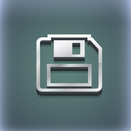 old pc: floppy disk icon symbol. 3D style. Trendy, modern design with space for your text illustration. Raster version