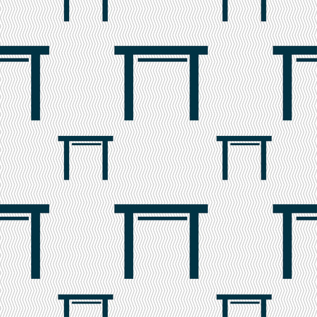 furnishing: stool seat icon sign. Seamless pattern with geometric texture. illustration