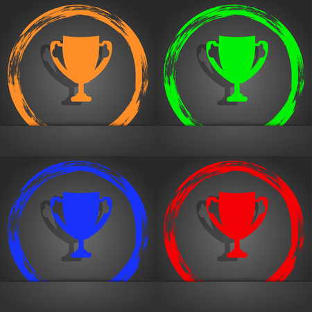 awarding: Winner cup sign icon. Awarding of winners symbol. Trophy. Fashionable modern style. In the orange, green, blue, red design. illustration