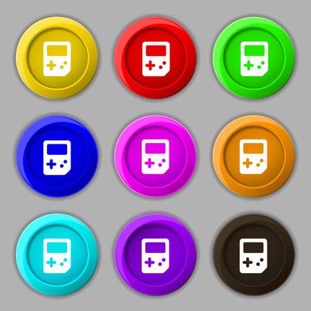 tetris: Tetris icon sign. symbol on nine round colourful buttons. illustration