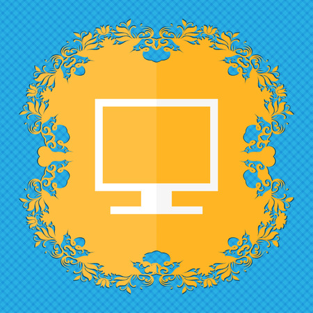 blue widescreen widescreen: Computer widescreen monitor . Floral flat design on a blue abstract background with place for your text. illustration