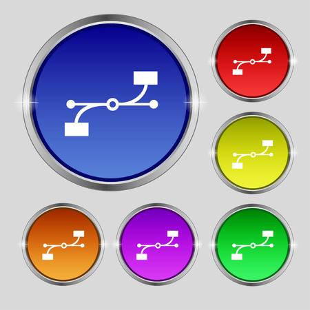 bezier: Bezier Curve icon sign. Round symbol on bright colourful buttons. illustration