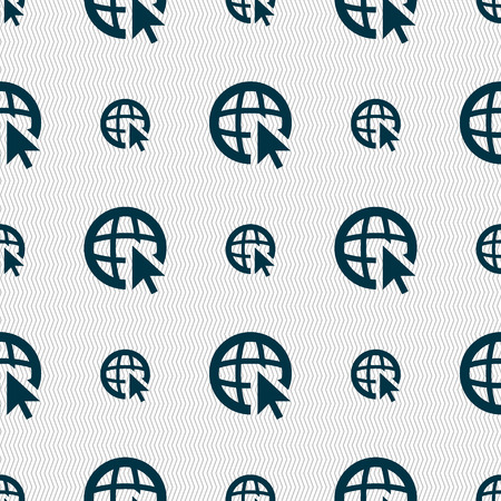 wide: Internet sign icon. World wide web symbol. Cursor pointer. Seamless abstract background with geometric shapes. illustration Stock Photo