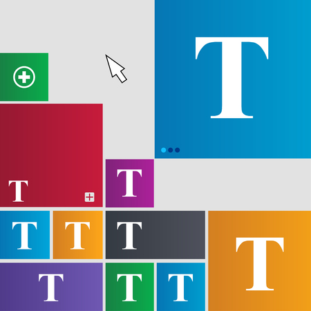 Text edit icon sign. Metro style buttons. Modern interface website buttons with cursor pointer. illustration