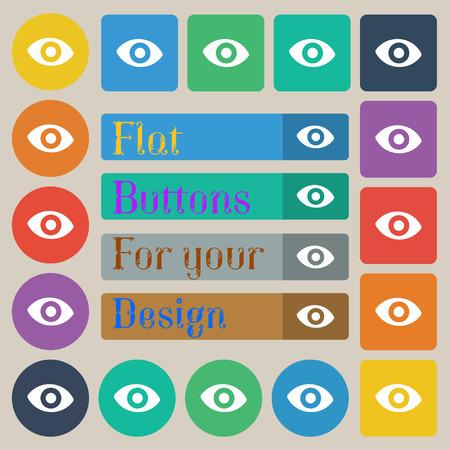 twenty sixth: sixth sense, the eye icon sign. Set of twenty colored flat, round, square and rectangular buttons. illustration Stock Photo