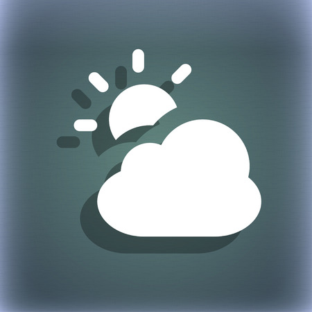bluegreen: weather icon symbol on the blue-green abstract background with shadow and space for your text. illustration