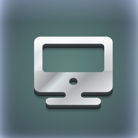 oled: monitor icon symbol. 3D style. Trendy, modern design with space for your text illustration. Raster version Stock Photo
