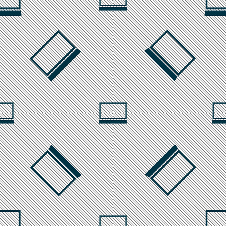 netbook: Laptop sign icon. Notebook pc symbol. Seamless pattern with geometric texture. illustration