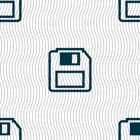 old pc: floppy disk icon sign. Seamless pattern with geometric texture. illustration Stock Photo