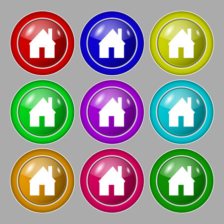 main: Home sign icon. Main page button. Navigation symbol. Symbol on nine round colourful buttons. illustration Stock Photo