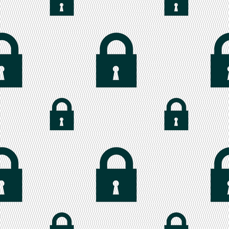 entrance is forbidden: closed lock icon sign. Seamless pattern with geometric texture. illustration Stock Photo