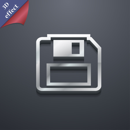 record office: floppy disk icon symbol. 3D style. Trendy, modern design with space for your text illustration. Rastrized copy
