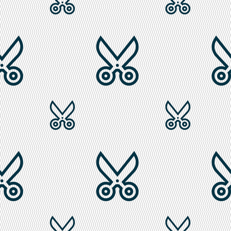 disclosed: scissors icon sign. Seamless pattern with geometric texture. illustration Stock Photo