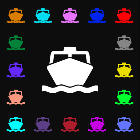fishing boats: the boat icon sign. Lots of colorful symbols for your design. illustration