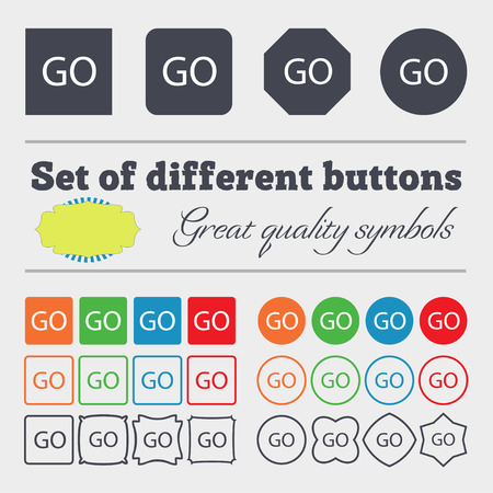 approval button: GO sign icon. Big set of colorful, diverse, high-quality buttons. illustration
