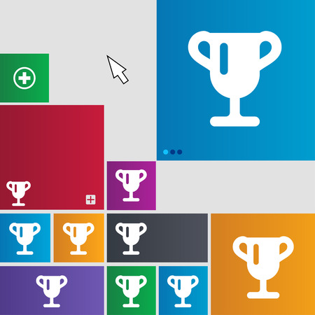 awarding: Winner cup, Awarding of winners, Trophy icon sign. buttons. Modern interface website buttons with cursor pointer. illustration Stock Photo