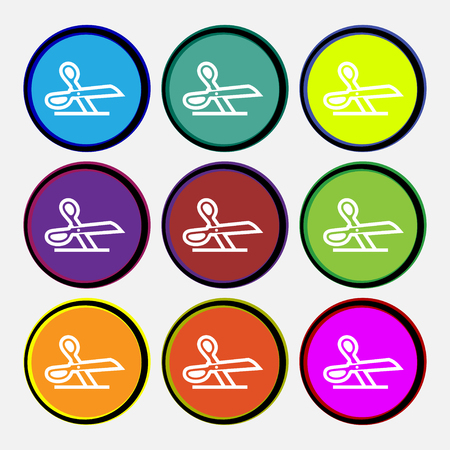 disclosed: scissors icon sign. Nine multi colored round buttons. illustration Stock Photo