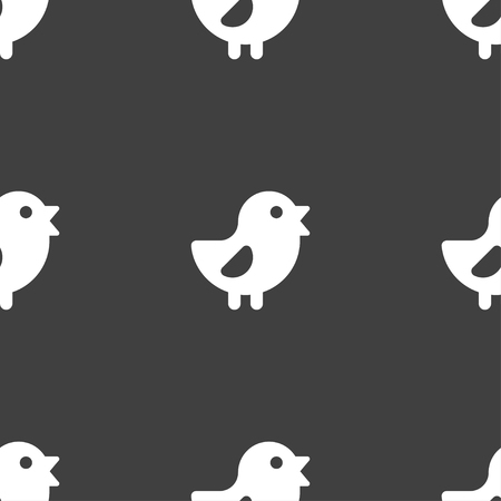 cluck: chicken, Bird icon sign. Seamless pattern on a gray background. illustration Stock Photo