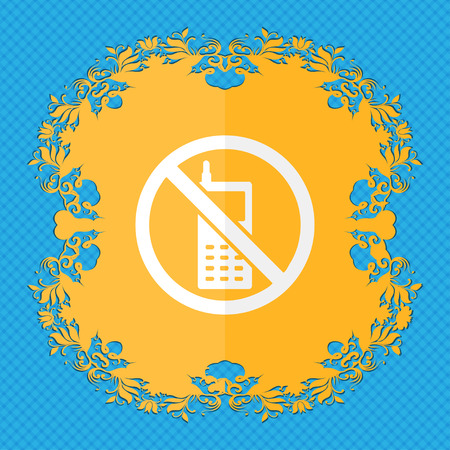 cell phones not allowed: mobile phone is prohibited. Floral flat design on a blue abstract background with place for your text. illustration Stock Photo
