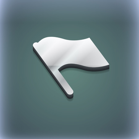 abort: Finish, start flag icon symbol. 3D style. Trendy, modern design with space for your text illustration. Raster version Stock Photo