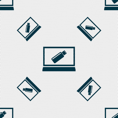 game drive: usb flash drive and monitor sign icon. Video game symbol. Seamless pattern with geometric texture. illustration Stock Photo