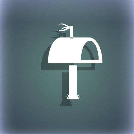media distribution: Mailbox icon sign. On the blue-green abstract background with shadow and space for your text. illustration