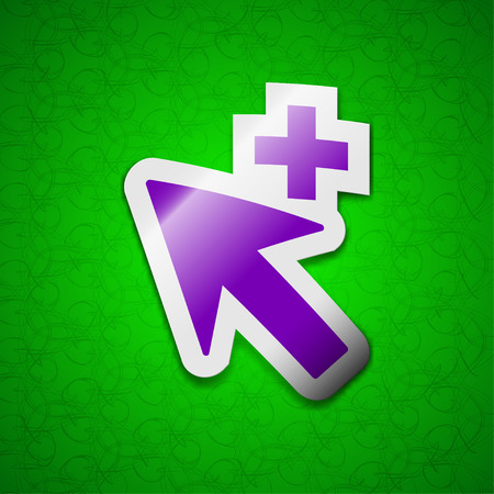 cursor arrow: Cursor, arrow plus, add icon sign. Symbol chic colored sticky label on green background. illustration Stock Photo