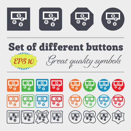 currencies: currencies of the world icon sign. Big set of colorful, diverse, high-quality buttons. illustration