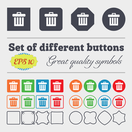 big bin: Recycle bin icon sign. Big set of colorful, diverse, high-quality buttons. illustration