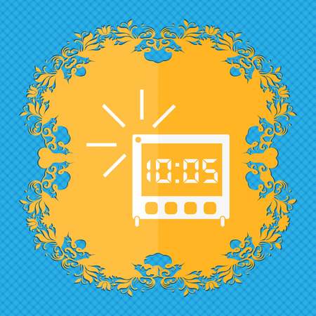 digital clock: digital Alarm Clock icon sign. Floral flat design on a blue abstract background with place for your text. illustration Stock Photo