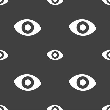 the sixth sense: sixth sense, the eye icon sign. Seamless pattern on a gray background. illustration Stock Photo