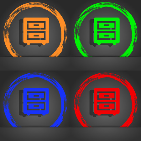 joinery: Nightstand icon symbol. Fashionable modern style. In the orange, green, blue, green design. illustration Stock Photo