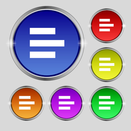 medium group of object: Left-aligned icon sign. Round symbol on bright colourful buttons. illustration