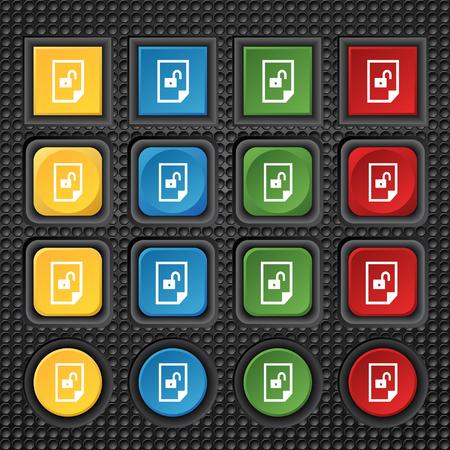 unlocked: File unlocked icon sign. Set of coloured buttons. illustration Stock Photo