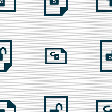unlocked: File unlocked icon sign. Seamless abstract background with geometric shapes. illustration