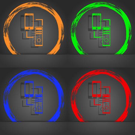 data synchronization: Synchronization sign icon. communicators sync symbol. Data exchange. Fashionable modern style. In the orange, green, blue, red design. illustration Stock Photo