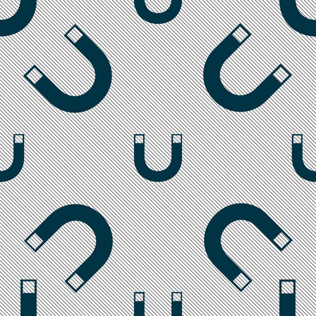 sig: magnet sign icon. horseshoe it symbol. Repair sig. Seamless pattern with geometric texture. illustration