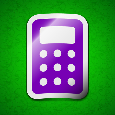 calc: Calculator, Bookkeeping icon sign. Symbol chic colored sticky label on green background. illustration