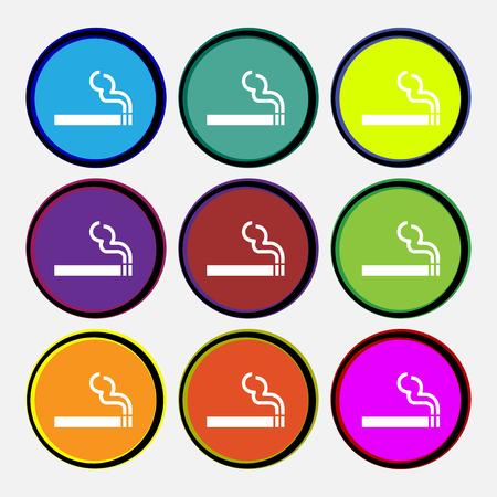 pernicious habit: cigarette smoke icon sign. Nine multi colored round buttons. illustration