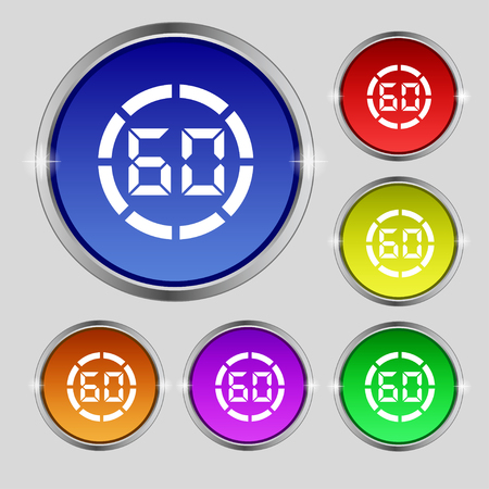 min: 60 second stopwatch icon sign. Round symbol on bright colourful buttons. illustration