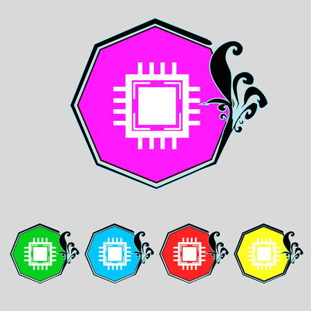 accelerator: Central Processing Unit Icon. Technology scheme circle symbol. Set colourful buttons. illustration